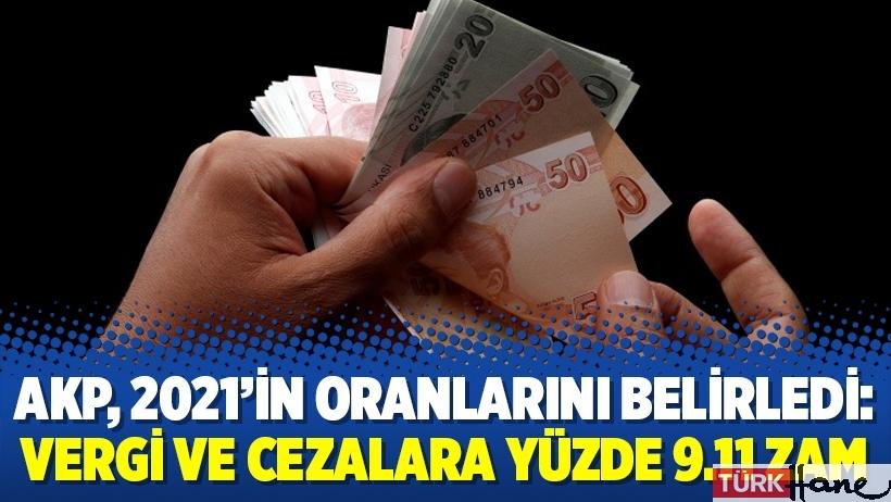 AKP, 2021'in oranlarını belirledi: Vergi ve cezalara yüzde 9.11 zam