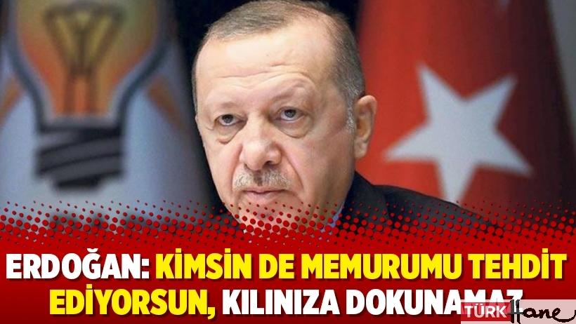 Erdoğan: Kimsin de memurumu tehdit ediyorsun, kılınıza dokunamaz
